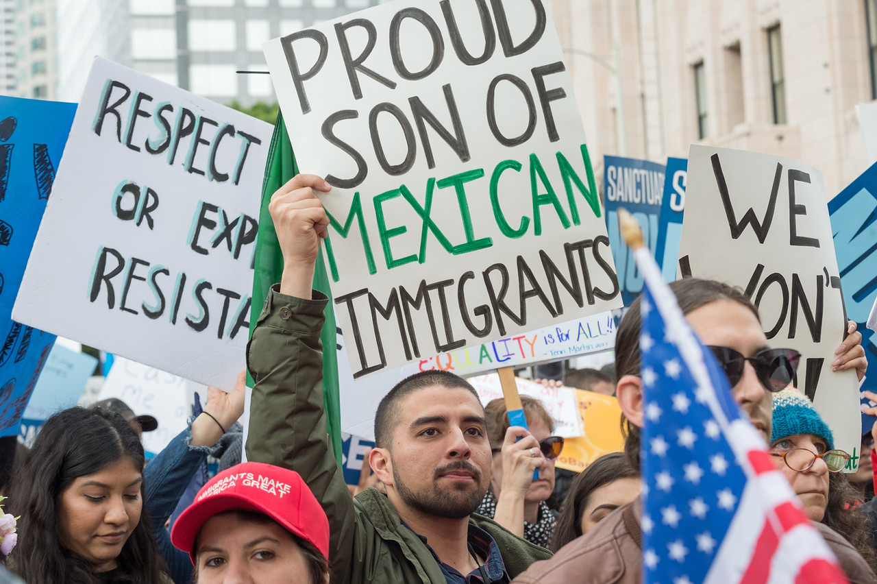 Immigrants Make America Great rally, downtown Los Angeles, Feb. 18, 2017.
