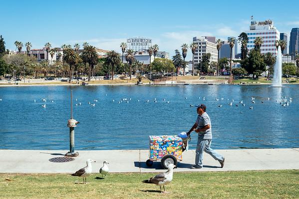 People of MacArthur Park, Los Angeles.