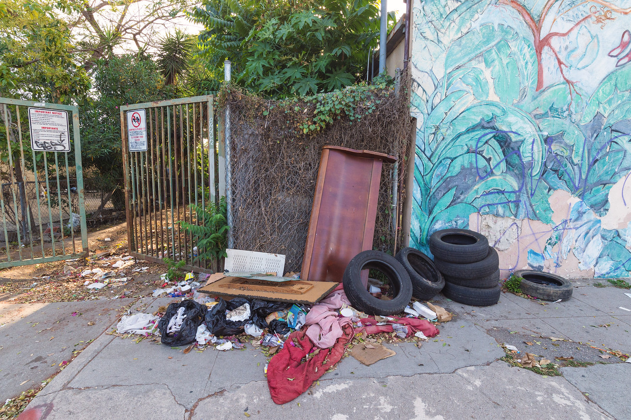 Trash on sidewalk near 103rd Street in Watts.