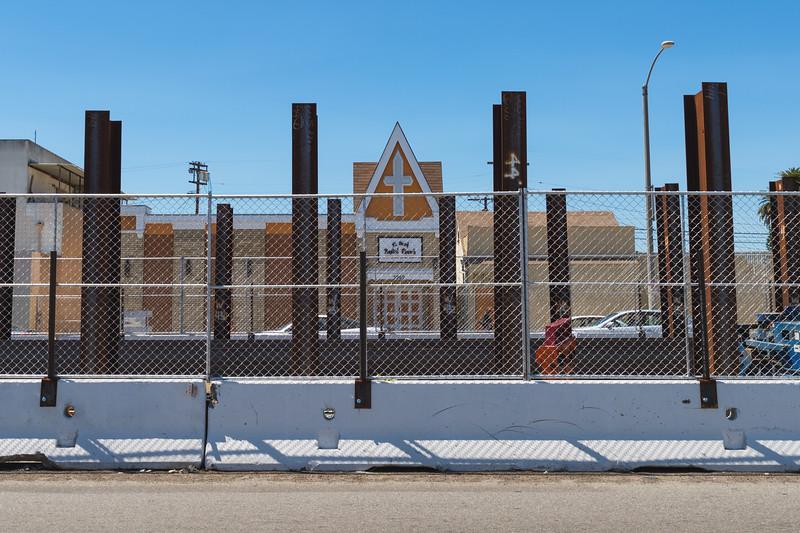 Crenshaw/LAX Line construction on Crenshaw Boulevard near 60th Street.
