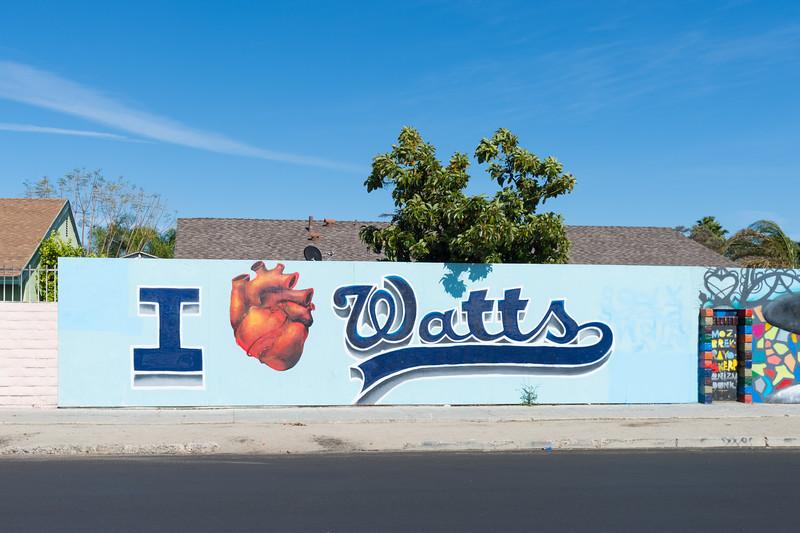 """I Love Watts"" street art in Watts part of Los Angeles."