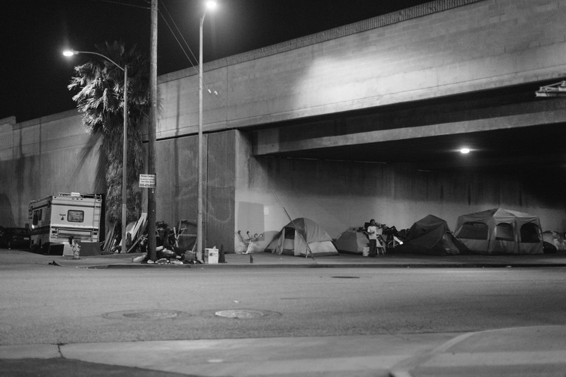 Homeless under the 110 freeway.
