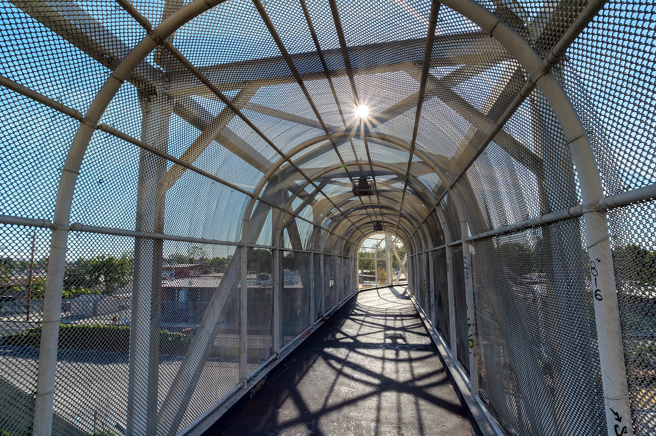 Pedestrian bridge over Blue Line tracks, Watts.