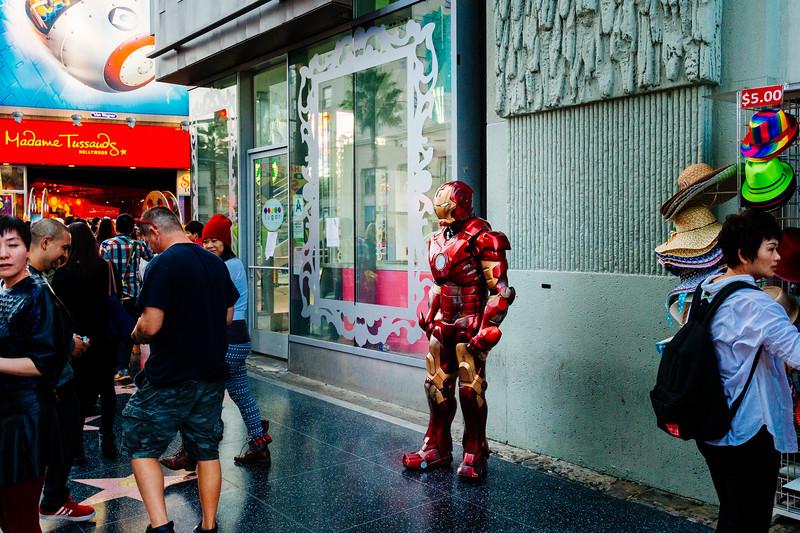 I am Iron Man and I am completely irrelevant. Hollywood Boulevard, Los Angeles.