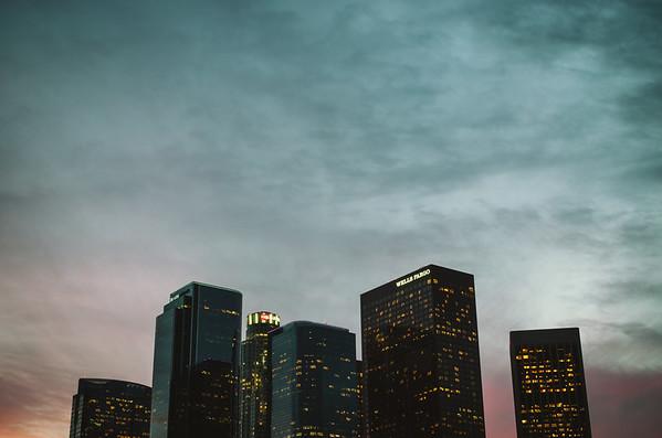 Los Angeles skyline at sunset, version 4.