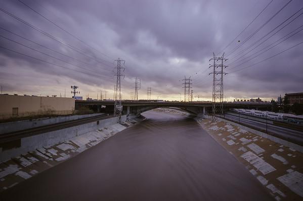 Los Angeles River after a winter rain, color version.