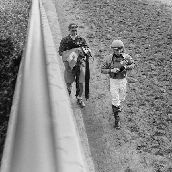 A jockey after the final race of the day at Santa Anita Park.