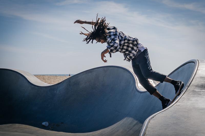 A skateboarder at the Venice Beach skatepark in Los Angeles.