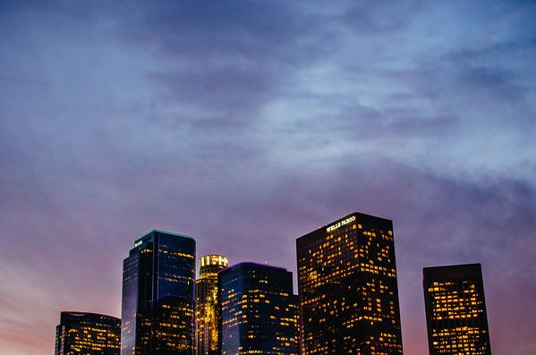 Los Angeles skyline at sunset, version 2.