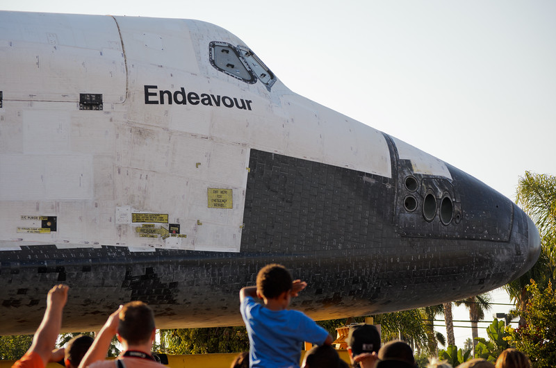 Space shuttle Endeavour on Crenshaw Boulevard.