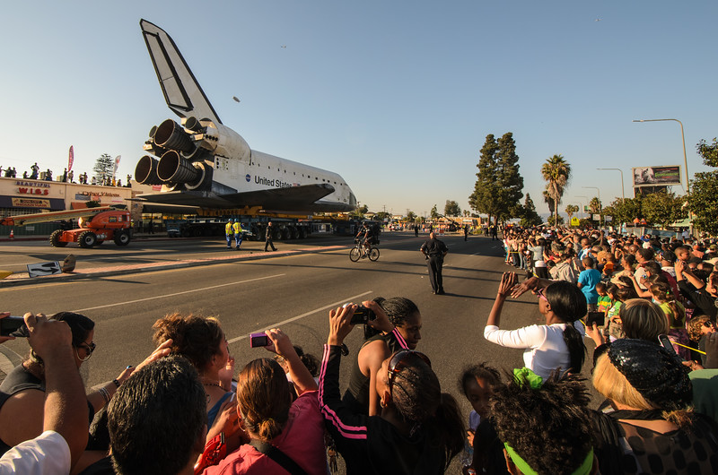 Space shuttle Endeavour at Crenshaw Boulevard and 54th Street, just south of Leimert Park.