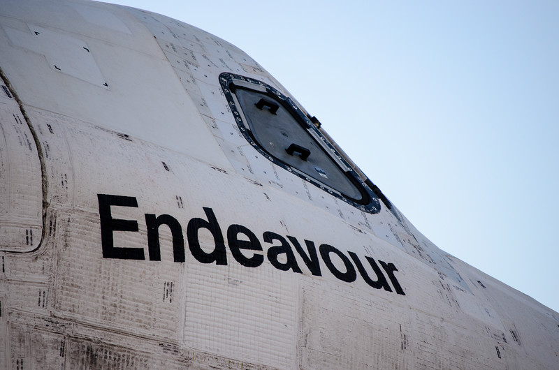 Space shuttle Endeavour on Crenshaw Boulevard. Closeup of cockpit.
