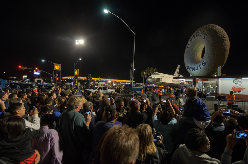 Space shuttle Endeavour parked on Manchester Boulevard next to Randy's Donuts.