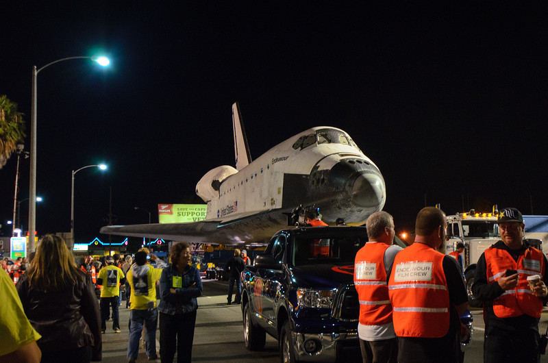 Space shuttle Endeavour on Manchester Boulevard.