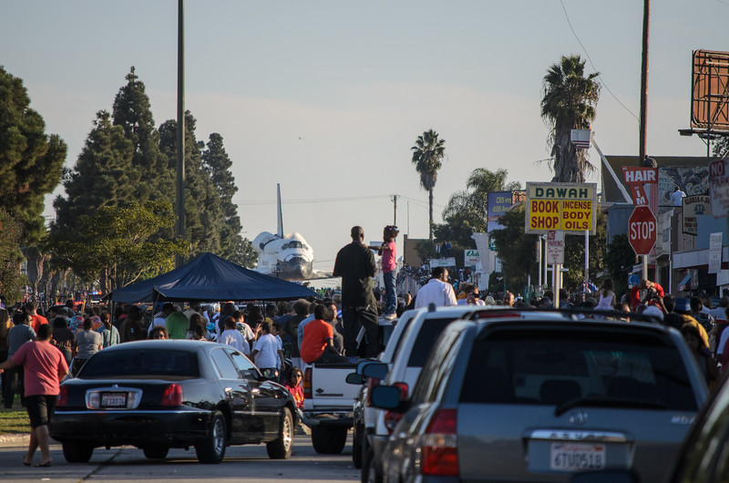 Space shuttle Endeavour on Crenshaw Boulevard approaching the heart of Leimert Park.