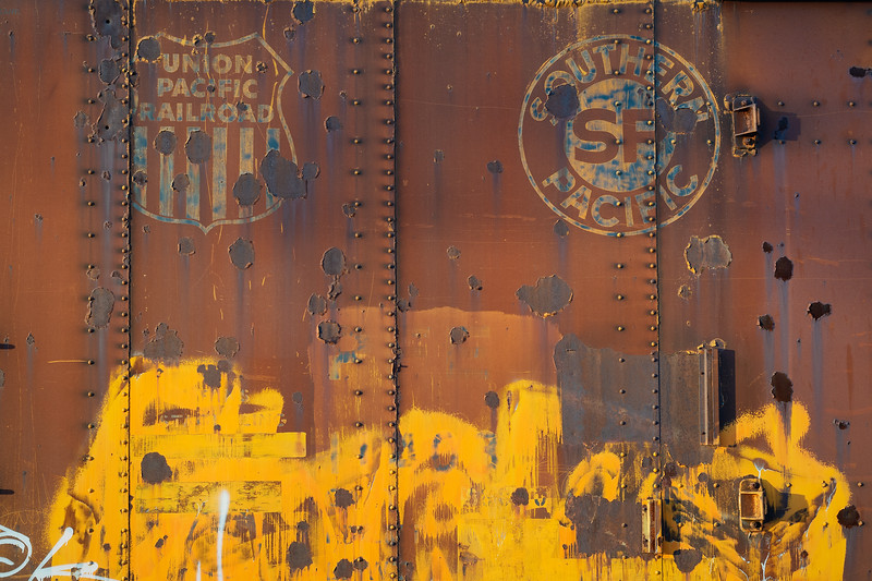 Old Union Pacific and Southern Pacific box car