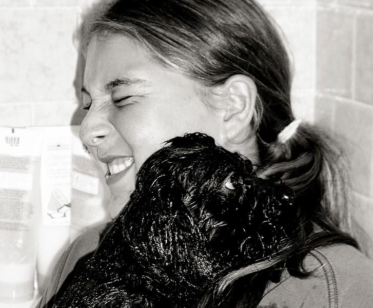 Jami Cakes giving Schmoo his first bath....