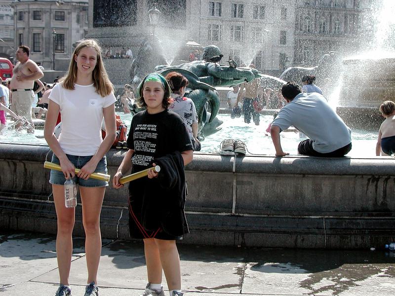 Jami Cakes and Alex in Trafalgar Square, London