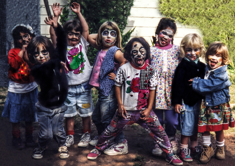 Jami Cakes, Shelby Allen, Haley Fager and friends at an Early Halloween fun at Canyon School in Hollywood, California