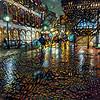 Walking on a rainy night at Faneuil Hall, Boston, Massachusetts