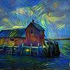 Starry night at the lobster shack, Rockport, Massachusetts