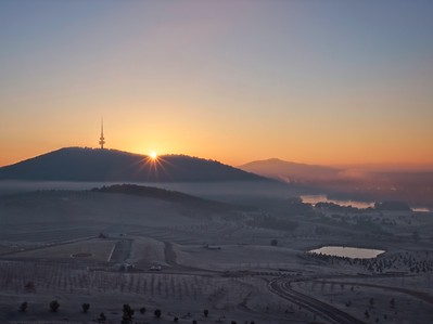 frosty sunrise over Canberra