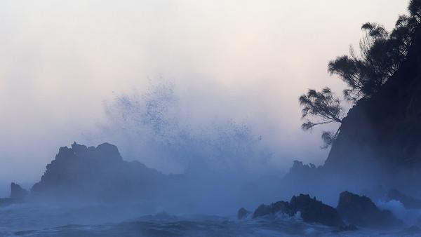 sea fog and sea spray