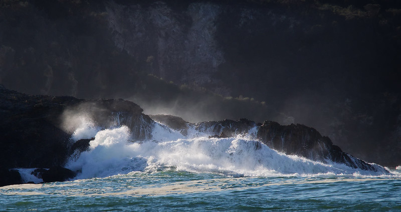 breaking wave and waterfalls