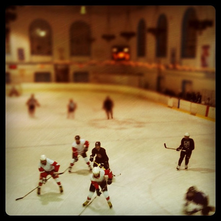 Beer league hockey in Pasadena. The photo was taken with an iPhone and processed with the Instagram app, with the tilt-shift function applied. Kind of worked.
