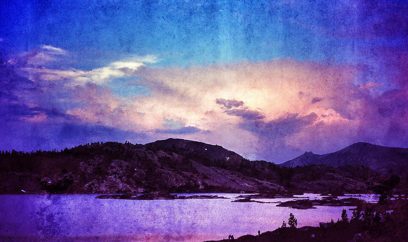 Thousand Island Lake, Ansel Adams Wilderness. This was an old slide that I scanned in and then juiced up. I never liked the way I framed the photo -- it's hard to see the anglers at the bottom of the frame. But Snapseed juiced up the sunset and makes it sing.