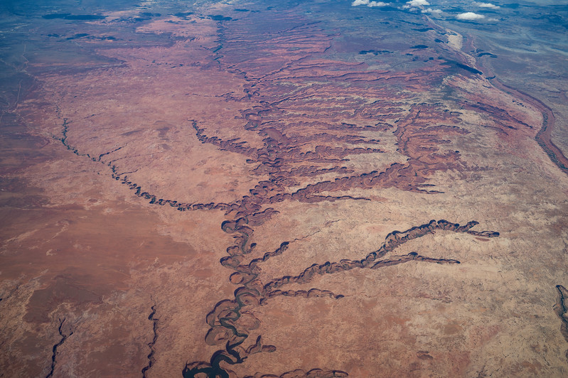 Aerial view of Escalante River and Grand Staircase National Monument just north of Lake Mead.
