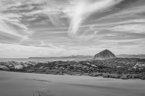 Morro Rock as seen from Montana de Oro State Park's sand spit.