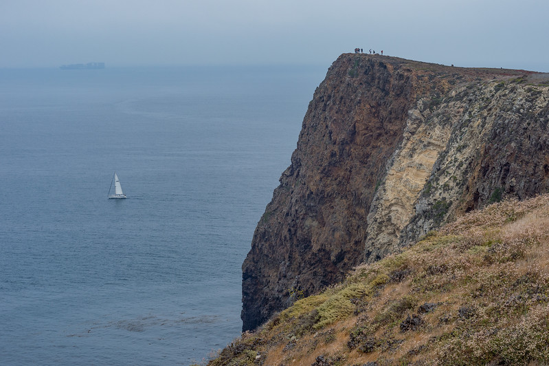 Hikers on Cavern Point, Santa Cruz Island, Channel Islands National Park