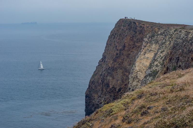 Hikers on Cavern Point, Santa Cruz Island, Channel Islands National Park