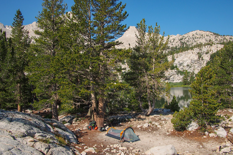 Backpacker's campsite, Honeymoon Lake, John Muir Wilderness