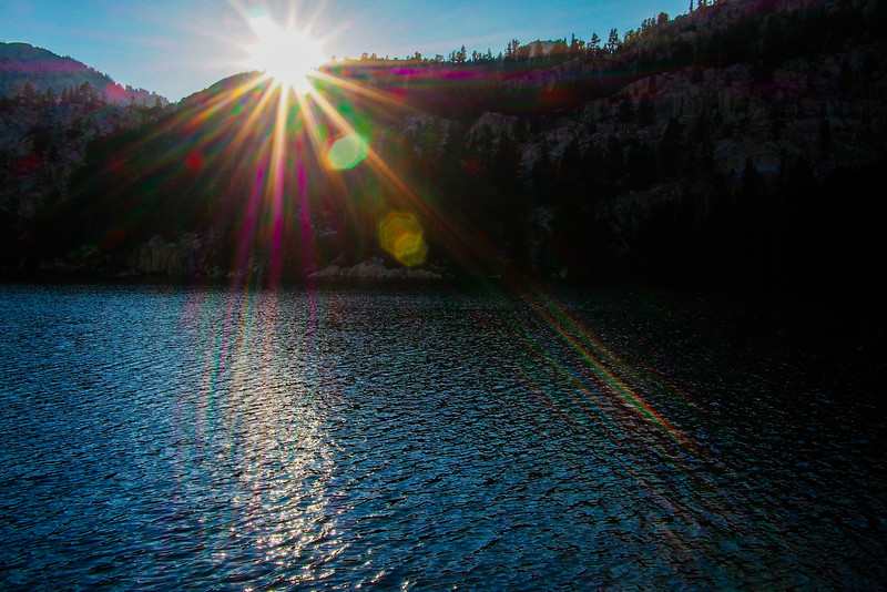 Sun flares at sunset, Honeymoon Lake