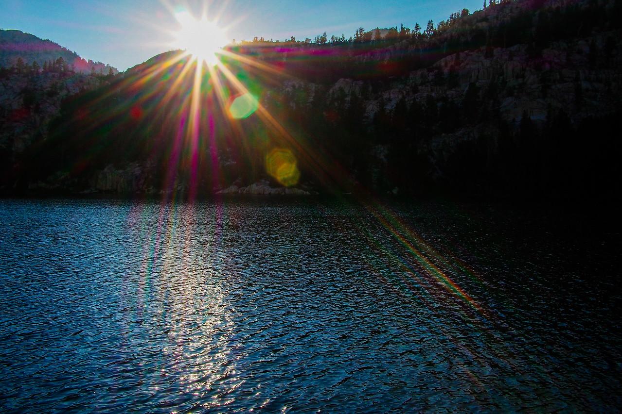 Sun flares at sunset, Honeymoon Lake