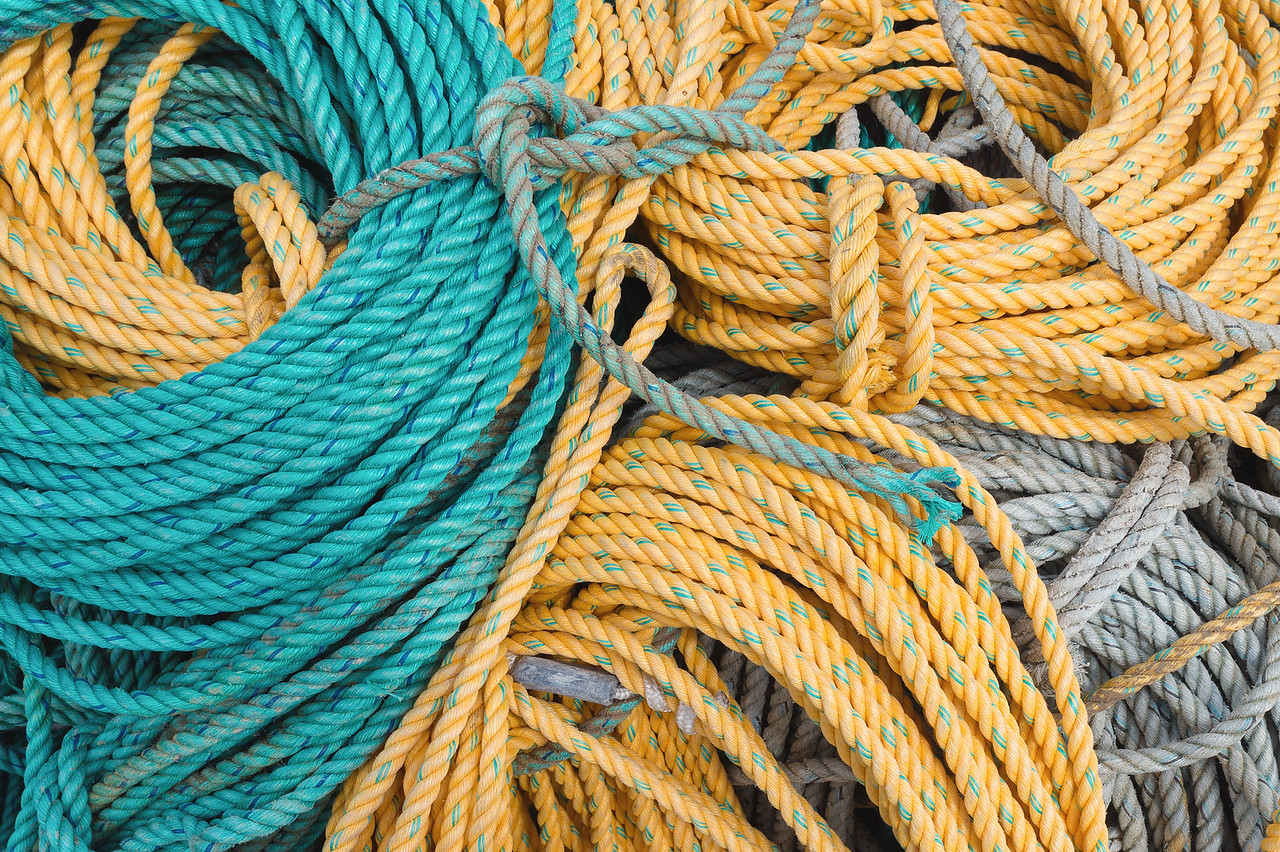 Coils of crab and lobster trap rope, Noyo Harbor, Fort Bragg, CA