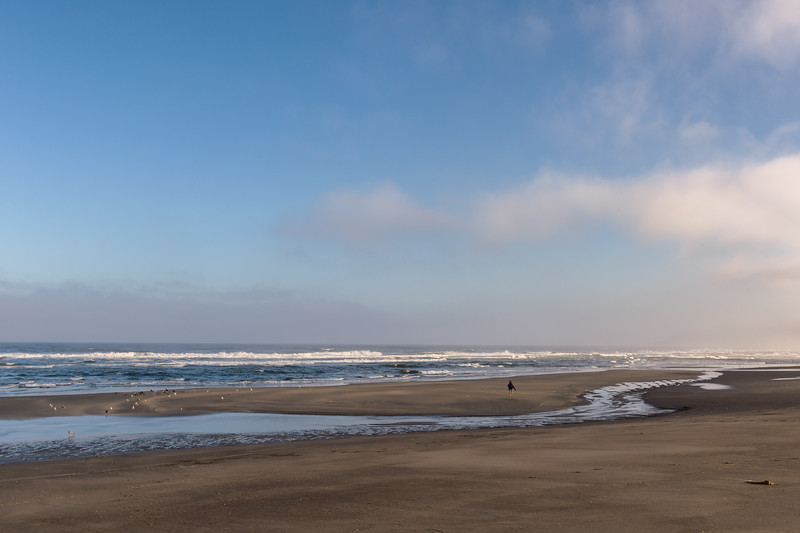 An empty MacKerricher State Beach at sunrise, Fort Bragg, CA