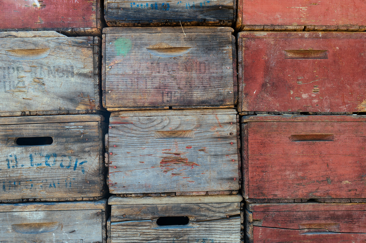 Old apple crates at fruit stand, Anderson Valley, CA