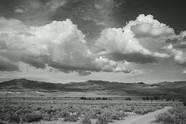 Clouds and shadows over the Owens Valley and White Mountains, south of Big Pine.