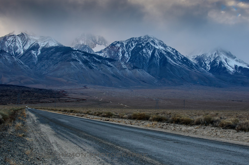 Looking up the road that leads to the Taboose Pass Trail in the Eastern Sierra on a stormy December afternoon.