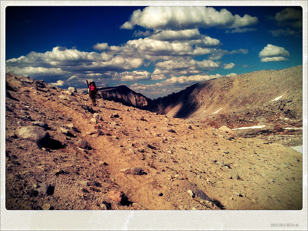 Approaching Mono Pass in the John Muir Wilderness of the Eastern Sierra in California.