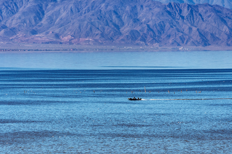 Boat racing across Salton Sea