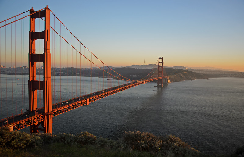 The Golden Gate on a very smoggy winter day. Taken at the first overlook along Conzelman Road, about 15 minutes before sunset.
