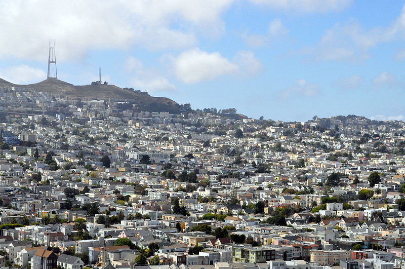 The excellent view of San Francisco and Twin Peaks from Bernal Heights Park.