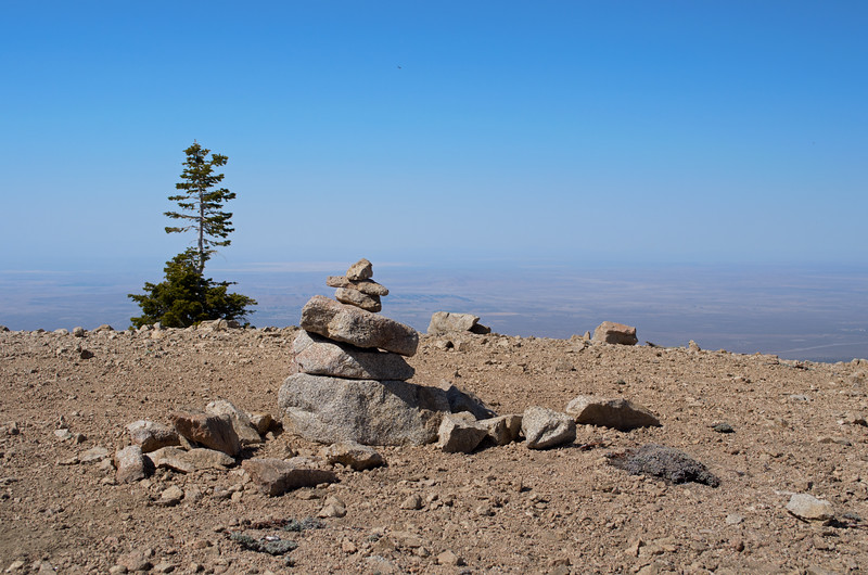 The view from the summit of Mt. Williamson, elev. 8,200 feet, in the San Gabriel Mountains of Southern California. The 2.5-mile trail to the top begins at Islip Saddle along the Angeles Crest Highway (Highway 2) with a gain of about 1,600 feet to the top. This view is looking north to the hazy (on this day) Antelope Valley.