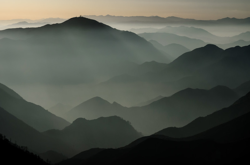 Mt. Lukens, Bear Valley and mountain silhouettes, San Gabriel Mountains near Los Angeles, CA