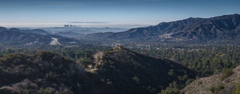 The view of downtown Los Angeles and a foggy L.A. Basin from the Hall-Beckley Trail above La Canada-Flintridge. In the distance are the Palos Verdes Peninsula and Catalina Island.