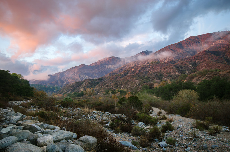 Sunset over Eaton Canyon in Altadena.